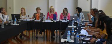 Minister Renata Deskoska alongside Frosina Tasevska, Prof. Mileva Gjurovska, Prof. Aleksandra Deanoska and Natali Petrovska from coalition all for fair trials