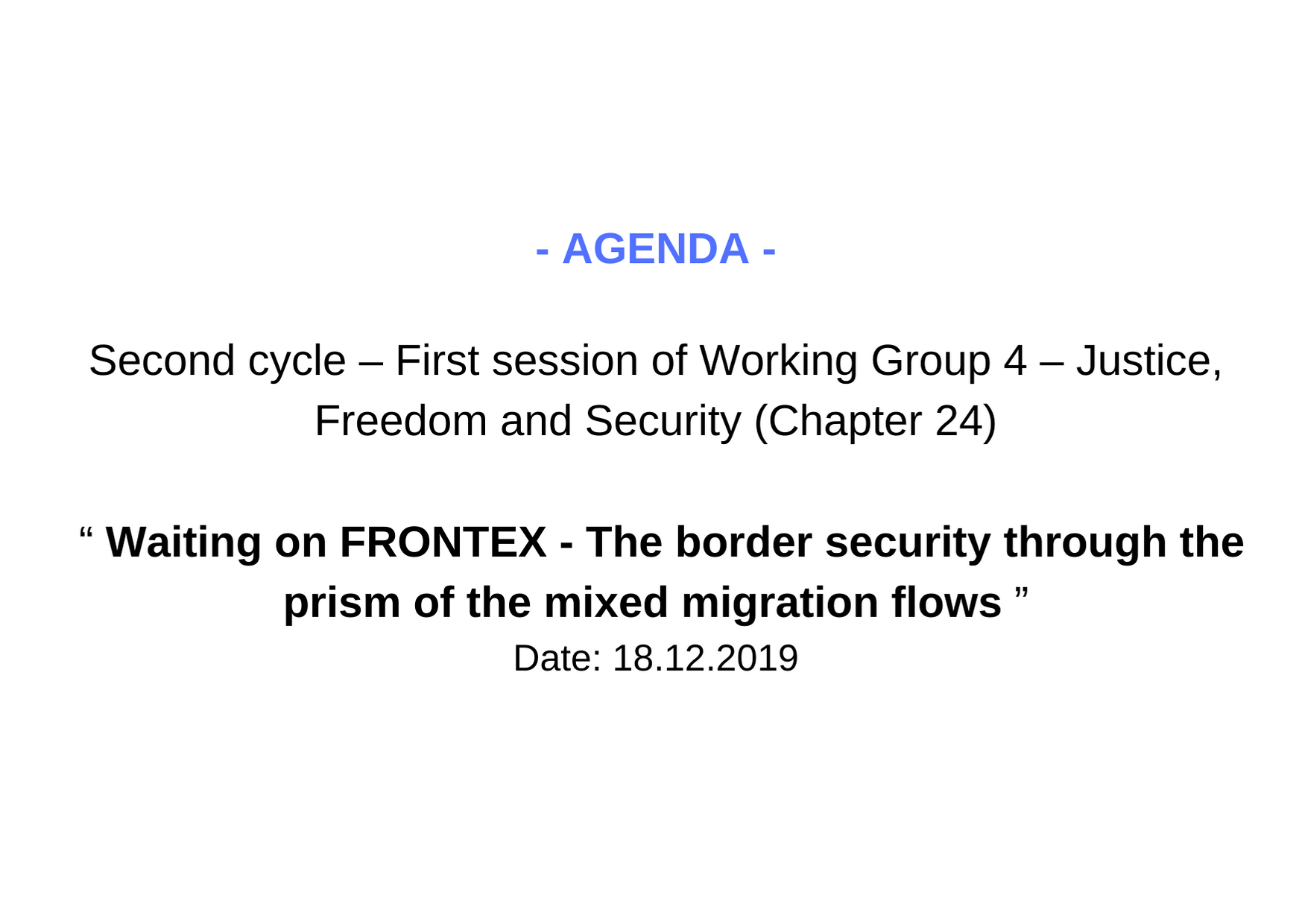 Agenda WG4 1 session 2 cycle
