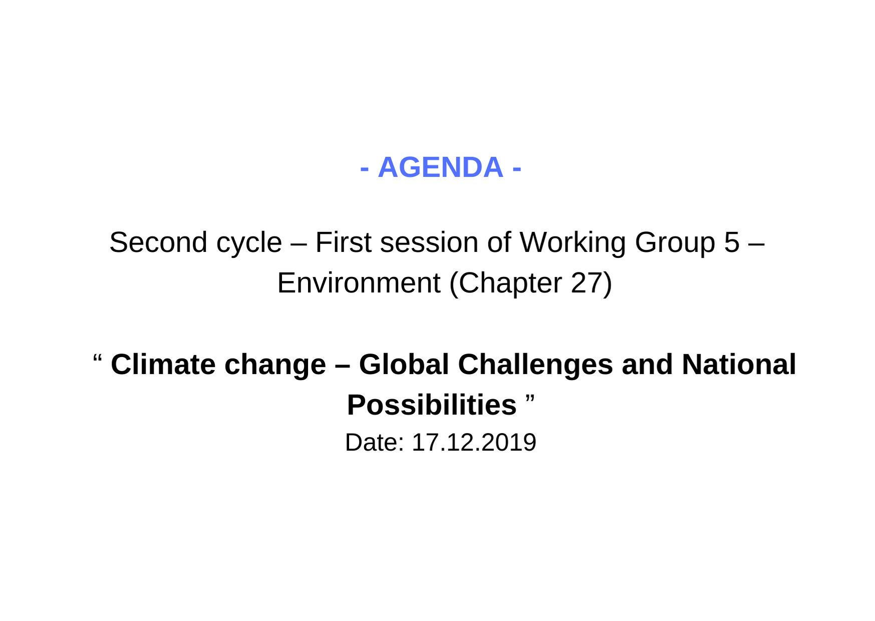 Agenda WG5 1 session 2 cycle