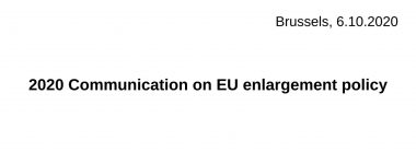 1. 2020 Communication on EU enlargement policy